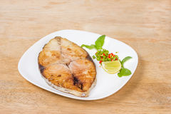 Free Spanish Mackerel Steak On Wood Background,fried Fish Stock Photography - 52629282