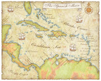 Spanish Main Map. 2D illustration of the Spanish Main, known today as the Caribbean Royalty Free Stock Images
