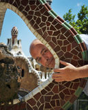 Spanish man in the Park Guell Stock Image