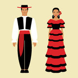 Spanish man and a woman in national costume Royalty Free Stock Images