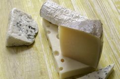 Spanish Manchego cheese, goat, gruyere, gorgonzola. Royalty Free Stock Image