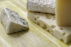 Spanish Manchego cheese, goat, gruyere, gorgonzola. Stock Images