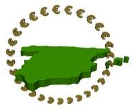 Spanish map with circle of euros Royalty Free Stock Photos