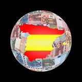 Spanish map flag on euros Royalty Free Stock Image