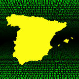 Spanish map over binary code Stock Photos