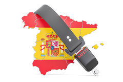 Spanish map with safety belt. Security and protect or insurance Stock Photo