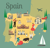 Spanish map. Spain travel map with sights flat style vector illustration. Popular buildings for tourists. Spanish map. Tourism and travel vector illustration