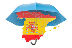 Spanish map under umbrella. Security and protect or insurance co Royalty Free Stock Photo