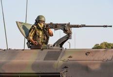 Spanish Marines Tank Gunner. On beach during Nato Training exercises, near Mojacar, Almeria Province, Andalusia, Spain Stock Image