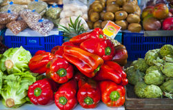 On the  Spanish market. Products at the markets of Mallorca Royalty Free Stock Images