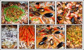 Spanish meal paella. Collage of spanish meal paella stock image