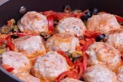 Spanish Meatballs albondigas with vegetables stock photos