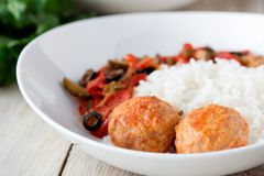 Spanish Meatballs albondigas with vegetables and Stock Photos
