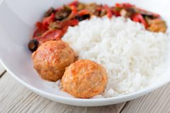 Spanish Meatballs albondigas with vegetables and Stock Images