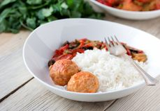 Spanish Meatballs albondigas with vegetables and Stock Image