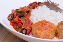 Spanish Meatballs albondigas with vegetables and Royalty Free Stock Photo