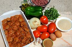 Spanish meatballs and ingredients. Stock Image