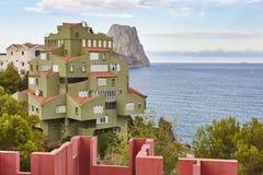 Spanish mediterranean coastline in Alicante. Calpe. La Manzanera. Arquitecture. Spain royalty free stock images