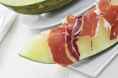 Spanish melon con jamon, melon with serrano ham Stock Photography