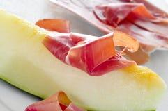Spanish melon con jamon, melon with serrano ham Stock Photo
