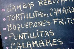 Spanish menu Royalty Free Stock Photos