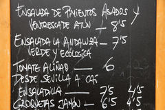 Spanish menu Royalty Free Stock Images