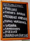 Spanish Menu Stock Photo