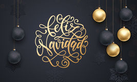 Spanish Merry Christmas Feliz Navidad decoration golden ball ornament greeting Royalty Free Stock Image