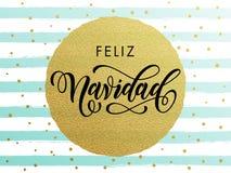 Spanish Merry Christmas Feliz Navidad gold glitter greeting card. Spanish Merry Christmas Feliz Navidad gold glitter gilding foil greeting card. Vector frosty Stock Image