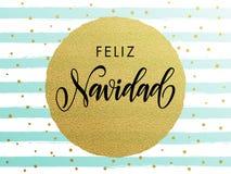 Spanish Merry Christmas Feliz Navidad gold glitter greeting card. Spanish Merry Christmas Feliz Navidad gold glitter gilding foil greeting card. Vector frosty Royalty Free Stock Images