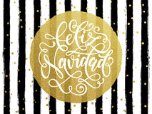 Spanish Merry Christmas Feliz Navidad gold glitter stripes. Spanish Merry Christma Feliz Navidad s gold glitter text for greeting card. Vector black stripes with Stock Photo