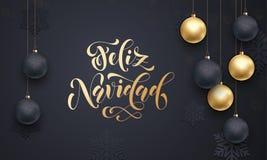 Spanish Merry Christmas Feliz Navidad golden decoration calligraphy lettering Royalty Free Stock Images