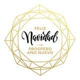 Spanish Merry Christmas, Feliz Navidad greeting card of gold Stock Image