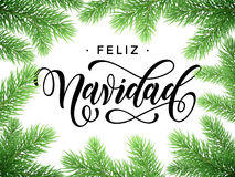 Spanish Merry Christmas Feliz Navidad tree branches card. Feliz Navidad Spanish Merry Christmas tree branches. Festive Christmas greeting card with fir tree Royalty Free Stock Photo