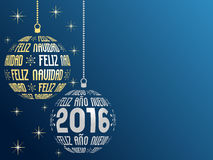 Spanish Merry Christmas and Happy New Year 2016 background Royalty Free Stock Image