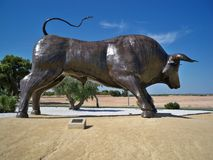 Spanish Metal Bull. Metal Bull on a Traffic Island, Pilar de la Horadada, Murcia, Spain Royalty Free Stock Photo