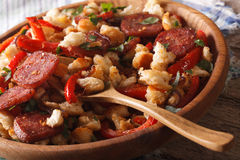 Spanish migas close-up on a plate. Horizontal Royalty Free Stock Images