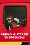 Spanish Military Emergency Unit (UME). Emergency unit of the army to help in natural disasters such as fires and earthquakes Stock Photography