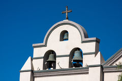 Spanish mission. Photo of the top of a spanish mission bell towers against a blue sky Stock Images