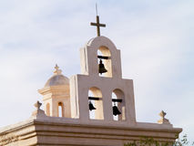 Spanish Mission church. Bells on roof of Spanish mission church in Tucson, Arizona Royalty Free Stock Photography
