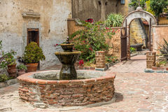 Spanish Mission Fountain in courtyard Royalty Free Stock Photography