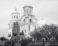 San Xavier Mission. Spanish mission San Xavier del Bac started in 1692 by Spanish missionaries in the Americas Royalty Free Stock Photography