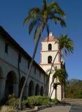 Spanish Mission in Santa Barbara. Exterior of Santa Barbara Mission and archway royalty free stock photos