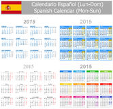 2015 Spanish Mix Calendar Mon-Sun. On white background Royalty Free Stock Photo