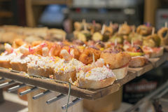 Spanish mixed tapas, Basque cuisine, pintxos Bilbao, Spain. Royalty Free Stock Photo