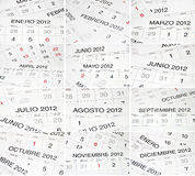 Spanish months calendar Royalty Free Stock Image