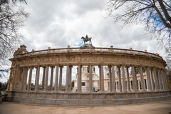 Spanish monument, man on horse in Madrid Stock Photos