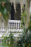 Spanish Moss in front of White Balcony. Magnolia plantation balcony with Spanish Moss and plants stock image