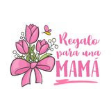 Spanish mother day greeting. Sweet floral message with happy wishes and dia mama thanks, card to express gratitude, love and reverence on beautiful holiday Stock Images