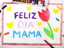 Spanish Mothers Day card with words `Happy Mothers day` Royalty Free Stock Photos